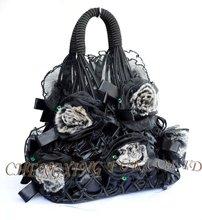 Cx-h-30 piel de rex auténtico bolsos de moda bolsa de flores