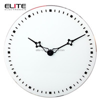 2015 new products promotional white dial print silent sweep glass wall clocks