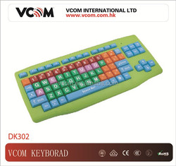 USB Wired Green Multimedia Keyboard with Rainbow Colored Keytops (suitable for kids)