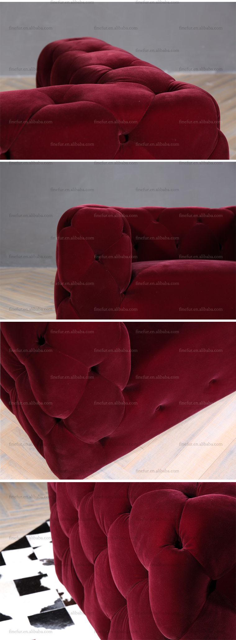 Luxury Furniture One Seat Red Velvet Tufted Sofa