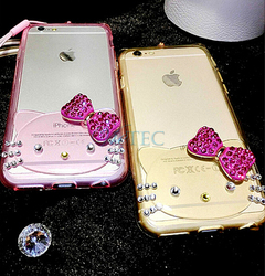 3D cartoon rhinestone hello kitty silicone mobile phones cover case for girls for iphone 6 6s