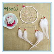 2015 New Design Wholesale Handmade 1 Circle White Feather Dream Catcher Supplies