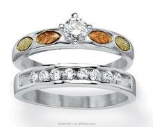 Three Tone Plated Fashion cubic zircon silver 2pcs leaf rings set