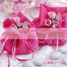 Wedding Favor Fushia Satin Bags For Gifts Packing On Sale