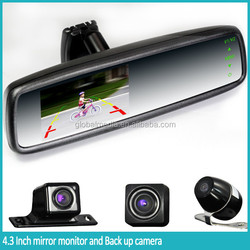 Touch screen Car rearview mirror with 4.3 inch TFT lcd screen, wireless backup camera display