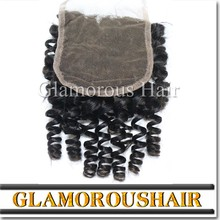 High Quality Human Hair Extension Virgin Remy Natural Color Curly Free Parting Virgin Hair Lace Closure Bleached Knots
