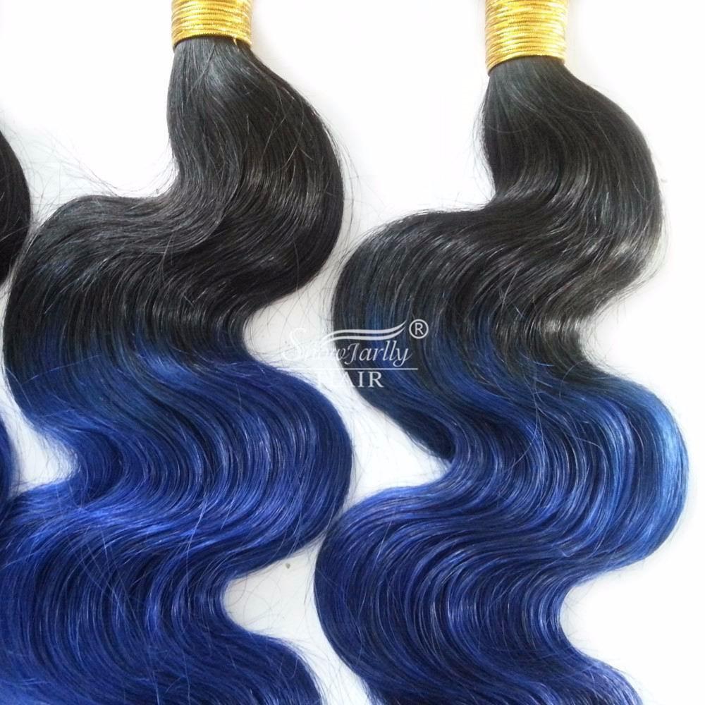 Blue Sew In Human Hair Ombre Braiding Brazilian Blue Black Human
