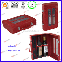Luxury red leather wine gift box packaging D06-171