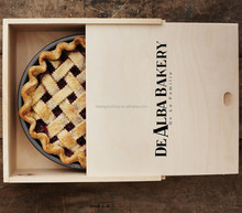 Nutural customized food grade wooden pie box wholesales
