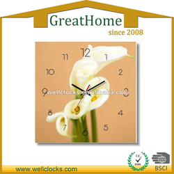 Beautiful flower design glass wall clock cover 12 inch
