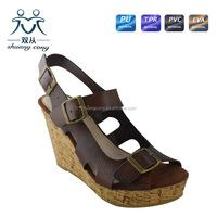 2015 fuzzy PU latest high heel wedge fashion women fancy girls sandals