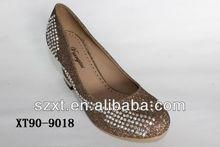 bronze glitter stars mid heel women pump shoes