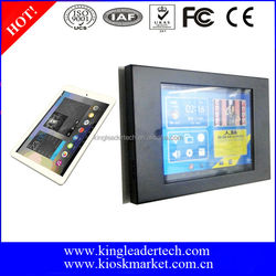 """Lower cost 9.7"""" android tablet pc with lockable matt black metal kiosk for wall mount display"""