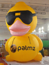 Outdoor exhibition inflatable cartoon/600cm/yellow inflatable duck with black sunglasses W438