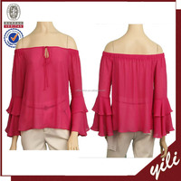 2016 new spring casual full sleeve ladies blouse back neck design DT150932639