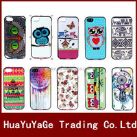 Colorful Flower Owl Pattern TPU+PLastic Soft phone cases cover for Apple iphone 5 5S
