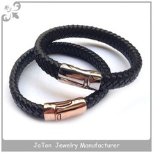 Top Quality Rose Gold Plated Bio Magnetic Bracelet Leather