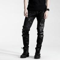 Punk Rave Top Wholesale K-105 Punk Elestic Black Vintage Leather Pants