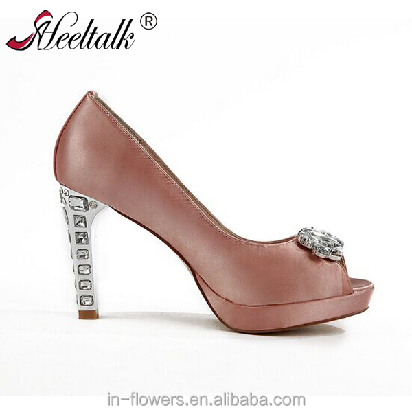 peep toe pink satin shoes with rhinestone shoes