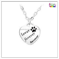 Heart Engraved Tag Cat's Paw Pendant Necklace pet jewelry