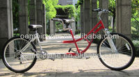 26 inch 7 speed steel frame tandem city bike with suspension fork