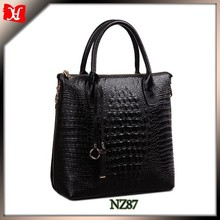 Fashion handbag crocodile leather shoulder bag olesale exported trendy leather handbag for women