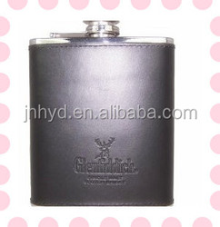 Popular and fashion leather embossed series stainless steel hip flask