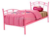 Kid latest metal bed designs Pink wooden slats single metal bed frame