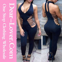 Black Haute Straps Hollow Out Party women jumpsuits and rompers