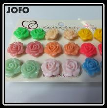 Candy Color VERY Cheap Plastic Rose Flower Stud Earrings 9 Pairs one Card