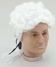 White Ringlet Court Judge Barrister Wig With Black Ribbon