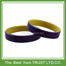 The cheapest dual silicone wristband, dual layer rubber bracelet for gift
