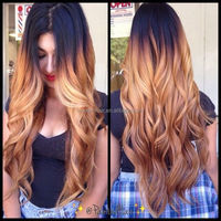 24inch natural wavy ombre blonde 130% thick human hair full lace wig