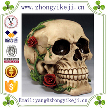 2015 chinese factory custom made handmade carved hot new products resin halloween skull