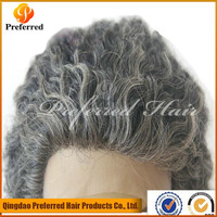 Cheap Prices 10'' grey curly hair wigs human hair full lace wig for african women