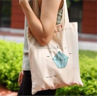 2015 Eco friendly plain white cotton college bags girls