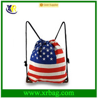 Custom cotton drawstring backpack with America flag printed bag
