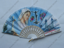 colorful print plastic folding hand fan as promotional gift