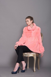light coral velvet mink women jacket pink