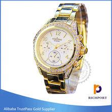 Customized Rhinestone Geneva Gold Lady Watch