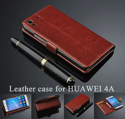 Hot Sell HQ!!Soft Genuine Leather Ultra-thin Wallet ID Card Holders Bumper Flip Stand Cover Case 5.0 Inch For HUAWEI Honor 4A