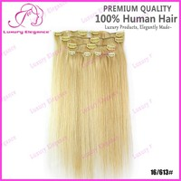 18 Inch Light Color Blonde 100% Chinese Human Hair Clip In Hair Extensions