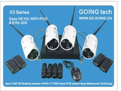 2013 Hot Sell Outdoor 4pcs NVR Kits HD WIFI IP Camera Free POE Power Adapter