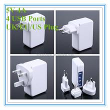 OEM universal us eu plug portable 5v 4a Mobile Phone Use and Electric Type universal usb multi charger