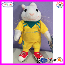 D160 Soft Yellow Clothes Animal Toys Stuffed Stuart Little Plush Toy with Logo Printing