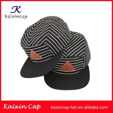 wholesale&high quality cotton fabric black white twill 5 pieces camper caps with your logo and desigh