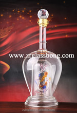 Diamond mouth glass bottle with the symble of Chinese dragon