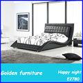 Cama de cuero de cristal mobiliario italiano hecho en China E2780#