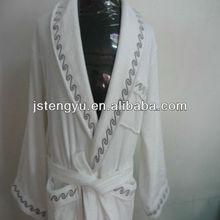weiße baumwolle frauen luxus fleece bademantel