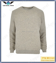 2014 custom plain quilted 100 cotton man crewneck sweatshirt , pullover hoodies without hood